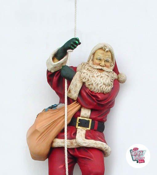 Figura Decoración Navidad Papa Noel Bajando por Cuerda