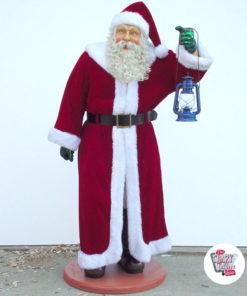 Figura Decorazione natalizia Babbo Natale con abiti reali e lanterna