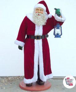 Figur Juldekoration Julemanden med rigtige tøj og lygte