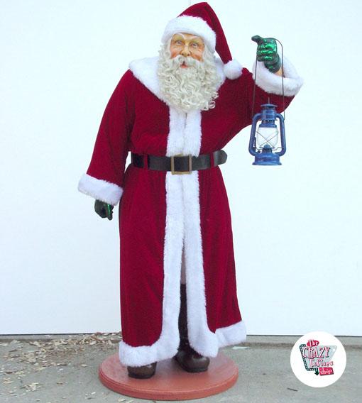 Figura Decoración Navidad Papa Noel Con Ropa real y Linterna