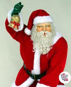 Figur Juldekoration Julemanden med rigtige tøj og taske