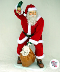 Figure Christmas Decoration Santa Claus With Real Clothing and Bag
