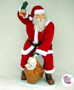 Figur Juldekorasjon Julemannen med ekte klær og veske