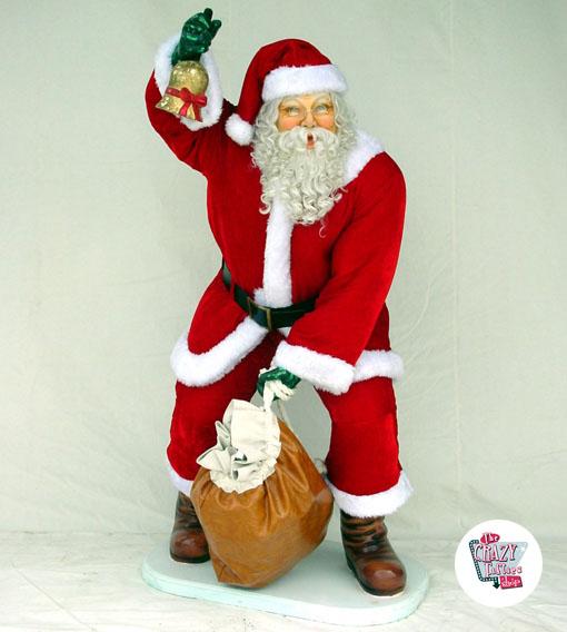 Imagenes De Papa Noel De Navidad.Figura Decoracion Navidad Papa Noel Con Ropa Real Y Saco