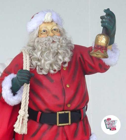 Figura Decoración Navidad Papa Noel Con Saco y Campana