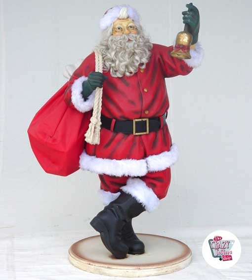 Immagini Babbo Natale Con Sacco.Figura Decoracion Navidad Papa Noel Con Saco Y Campana