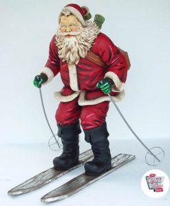 Figura Decorazione Natale Babbo Natale Sciare