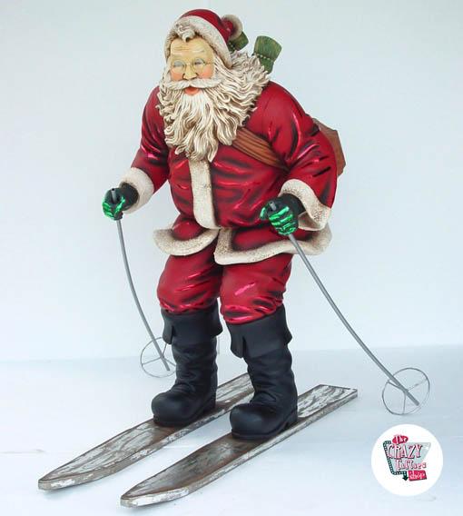 Figura Decoración Navidad Papa Noel Esquiando