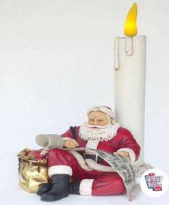 Figura Decoración Navidad Papa Noel Sentado con Vela