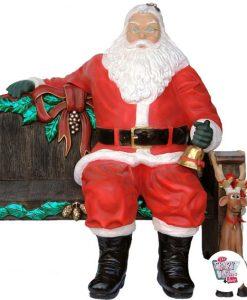 Figura Decoración Navidad Papa Noel Sentado en Banco