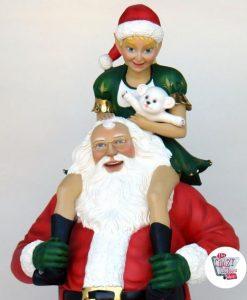 Figura Natale Decorazione Babbo Natale con Elf
