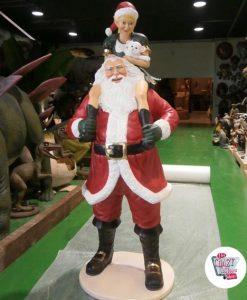 Figura Decoracion Navidad Papa Noel con Elfo
