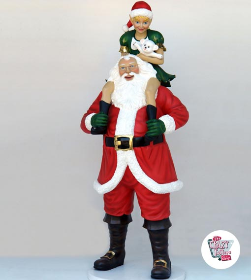 Figure Decoration Christmas Santa Claus with Elf