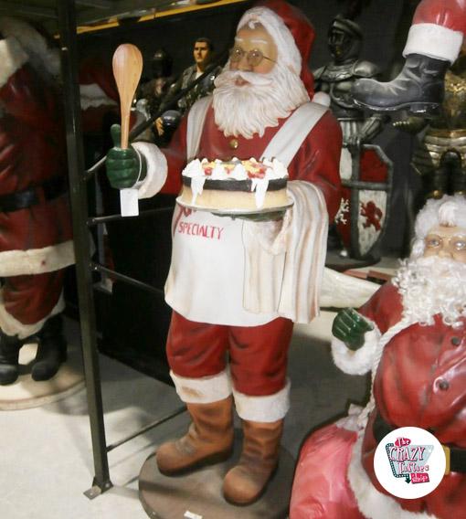 Figura Decoración Navidad Papa Noel con Pastel