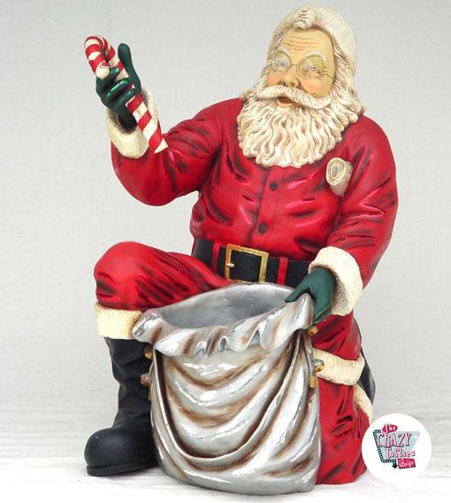 Figura Decoración Navidad Papa Noel de rodillas con Saco