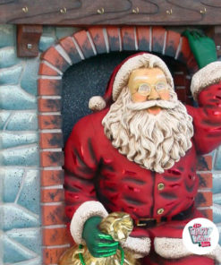 Figure Decoration Christmas Santa Claus entering by Fireplace