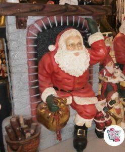 Figura Decoración Navidad Papa Noel entrando por Chimenea
