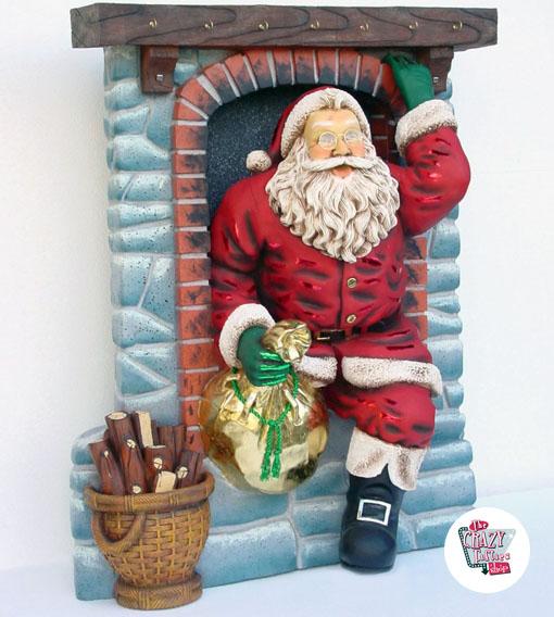 Camino Di Babbo Natale.Figura Decoracion Navidad Papa Noel Entrando Por Chimenea