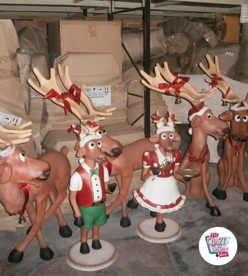 Figura Decoración Navidad Reno Camarera con Bandeja