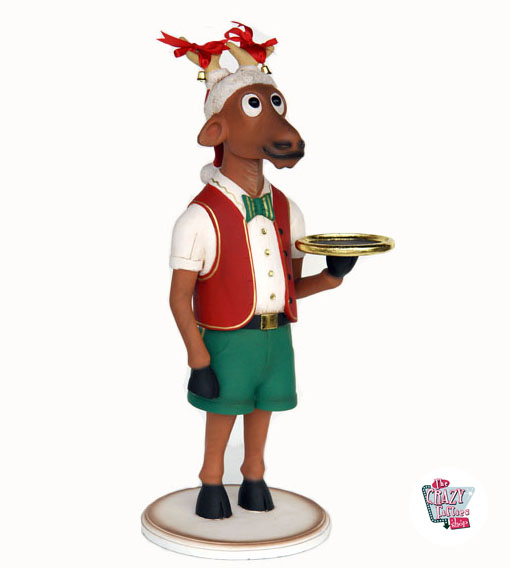 Figur Decoration Jul Reno tjener med bakke