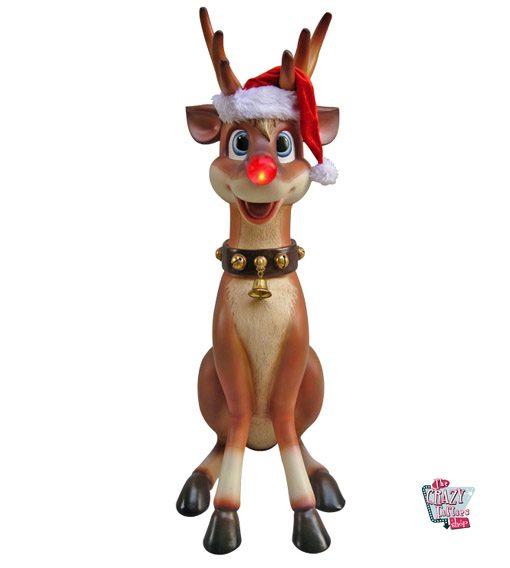 Figura Decoración Navidad Reno Rudolf Sentado