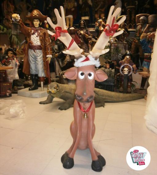 Figura Decorazione Natale Renna Seduta Ojitos