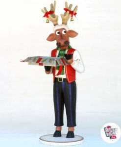 Figure Décoration de Noël Reno avec boîte-cadeau