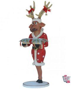 Figure décoration Noël renne avec cadeau
