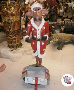 Figura Decoración Navidad Reno con Regalo