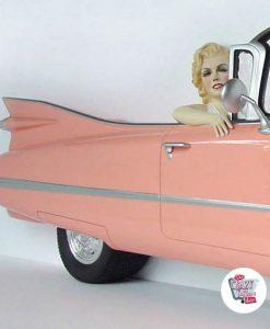 Figura Decoración Marilyn Cadillac Rosa