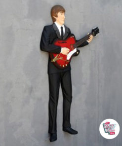 Figura Decoración Pared The Beatles Guitarra Acústica