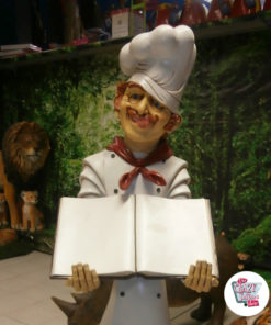 Figura Decoration italiana chef del ristorante con menù