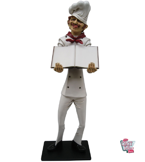 Figura Decoración Restaurante Italiano Chef con Menú