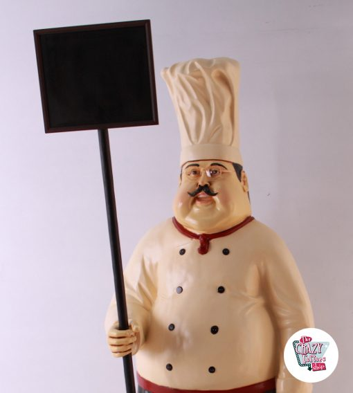 Figura Decoracion Restaurante Italiano Chef con Pizarra