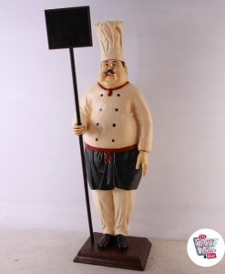 Figura Decoracion Restaurante Italiano Chef con Pizarra