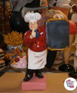 Figura Decoración Restaurante Italiano cocinero con Menú