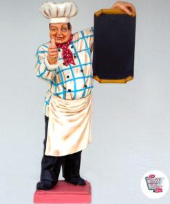 Figur Dekor Restaurant italiensk kokk med menyen