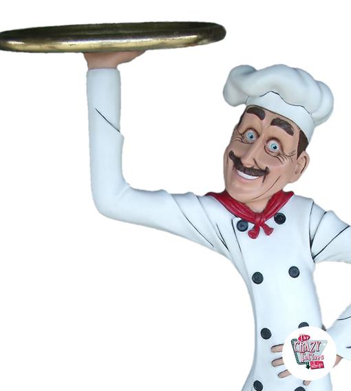 Figura Tema ristorante italiano chef con vassoio