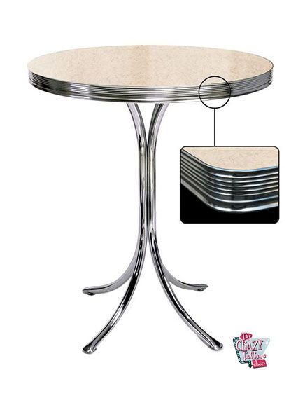 Høy Retro Diner Round Table Cream