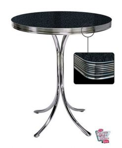 Retro High Black Round Table Diner