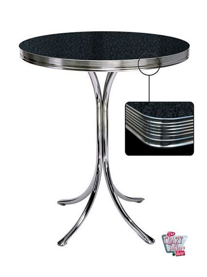 Retro High Svart Round Table Diner
