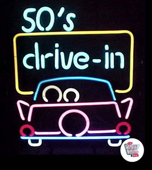 Neon 50s Drive in Poster