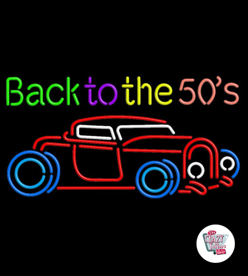 Neon Back To 50s Car Poster