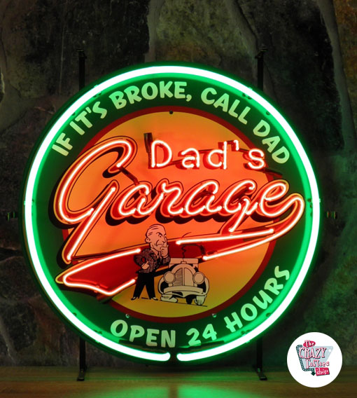 Neon Retro pappas garage