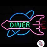 Neon Retro Diner Rocket
