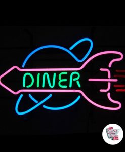 Retro Neon Sign Rocket Diner
