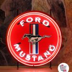 Neon Retro Ford Mustang Red