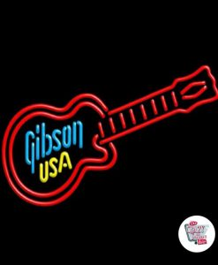 Retro Neon Sign Guitar Gibson USA