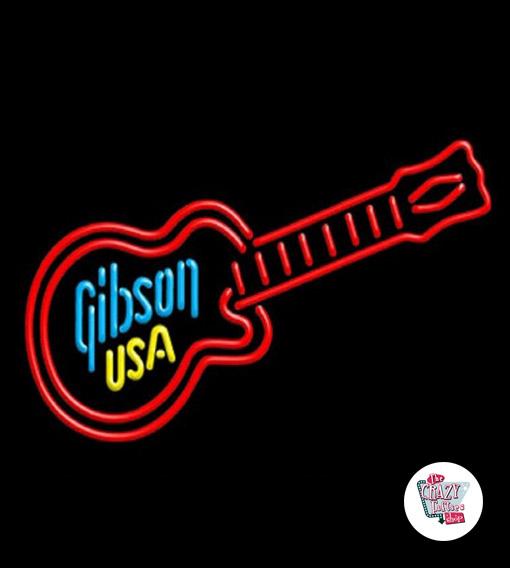 Retro Neon Guitarra Gibson EUA