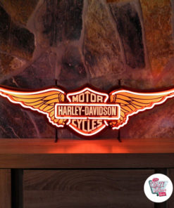 Neon Harley Davidson Wings orange skilt